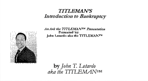 Titleman's Bankruptcy